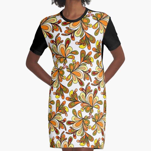 70s floral orange design Graphic T-Shirt Dress