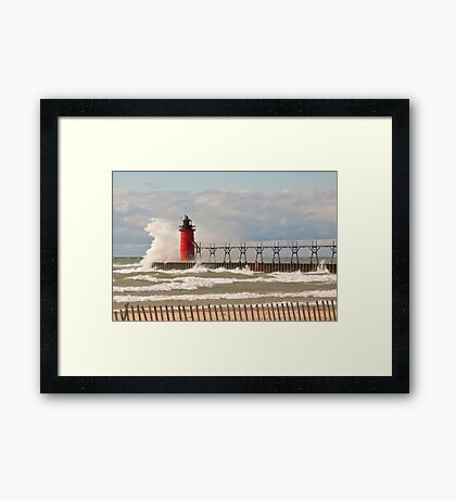 Lighthouse, South Haven, Michigan-2 Framed Print