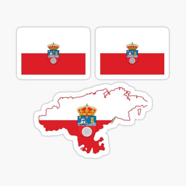 CANTABRIA Bandera cantábrica España Mini banderas españolas y esquema del mapa Pegatina