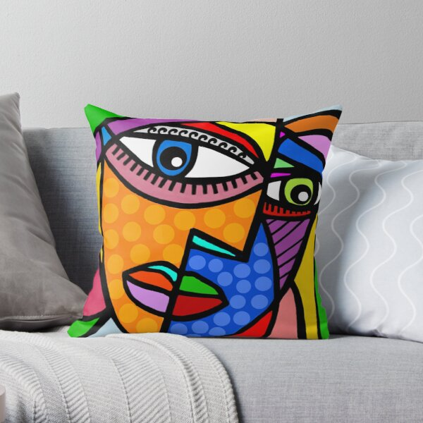 Funky Abstract Style Art Face with Dots and Stripes Throw Pillow