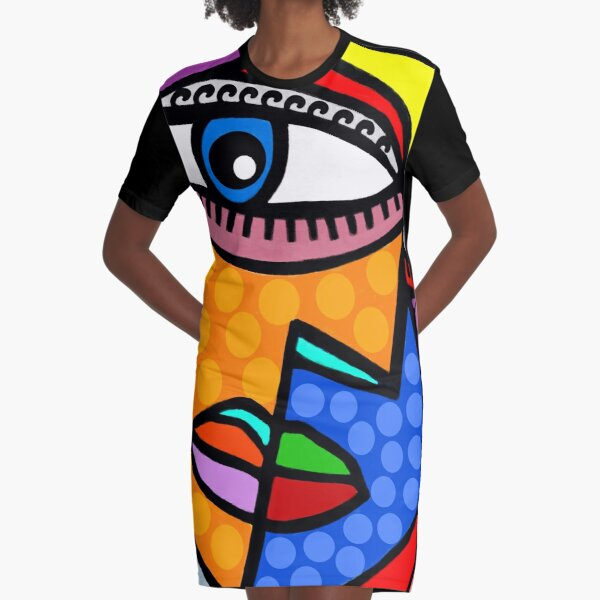 Funky Abstract Style Art Face with Dots and Stripes Graphic T-Shirt Dress