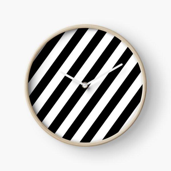 Black & White Stripes Clock