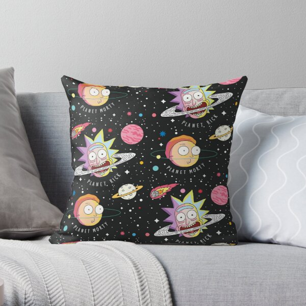 Rick and Morty Planets Throw Pillow
