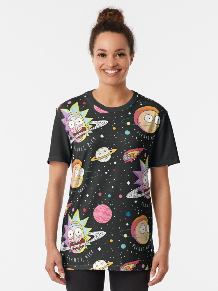 Alternate view of Rick and Morty Planets Graphic T-Shirt