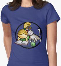 Girl & cute Kitten cartoony Womens Fitted T-Shirt