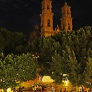 Taxco cathedral at night by ecotterell