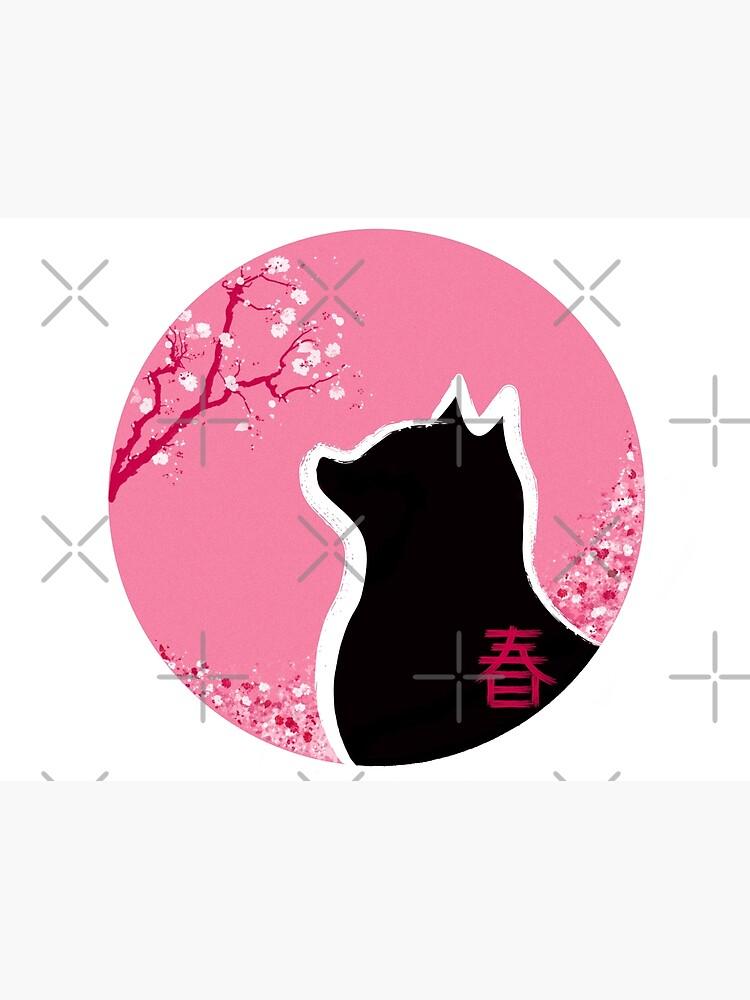 Gatito primaveral con flores de cerezo japonés de RolmiArt