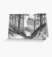 Through A Look In The Forest - Conté Drawing Greeting Card