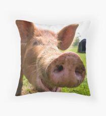 A happy Tamworth pig Throw Pillow