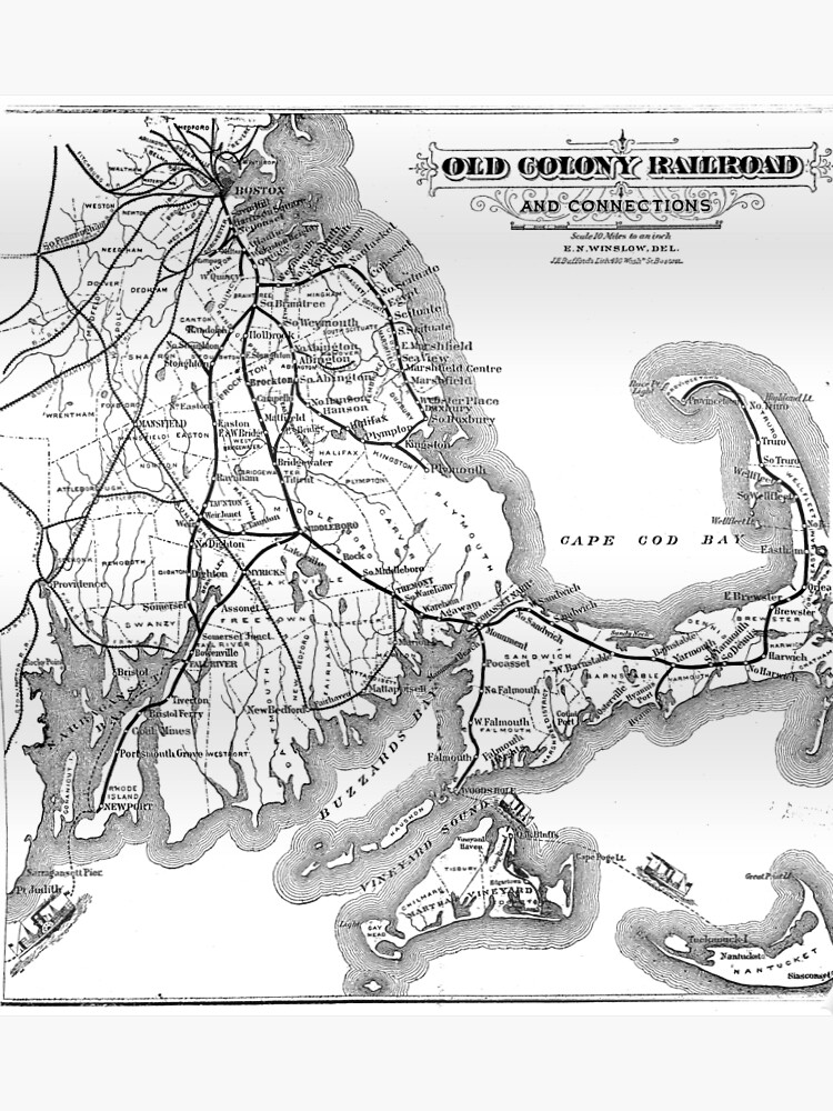 03b41df291336 Vintage Cape Cod Old Colony Railroad Map (1875) | Poster