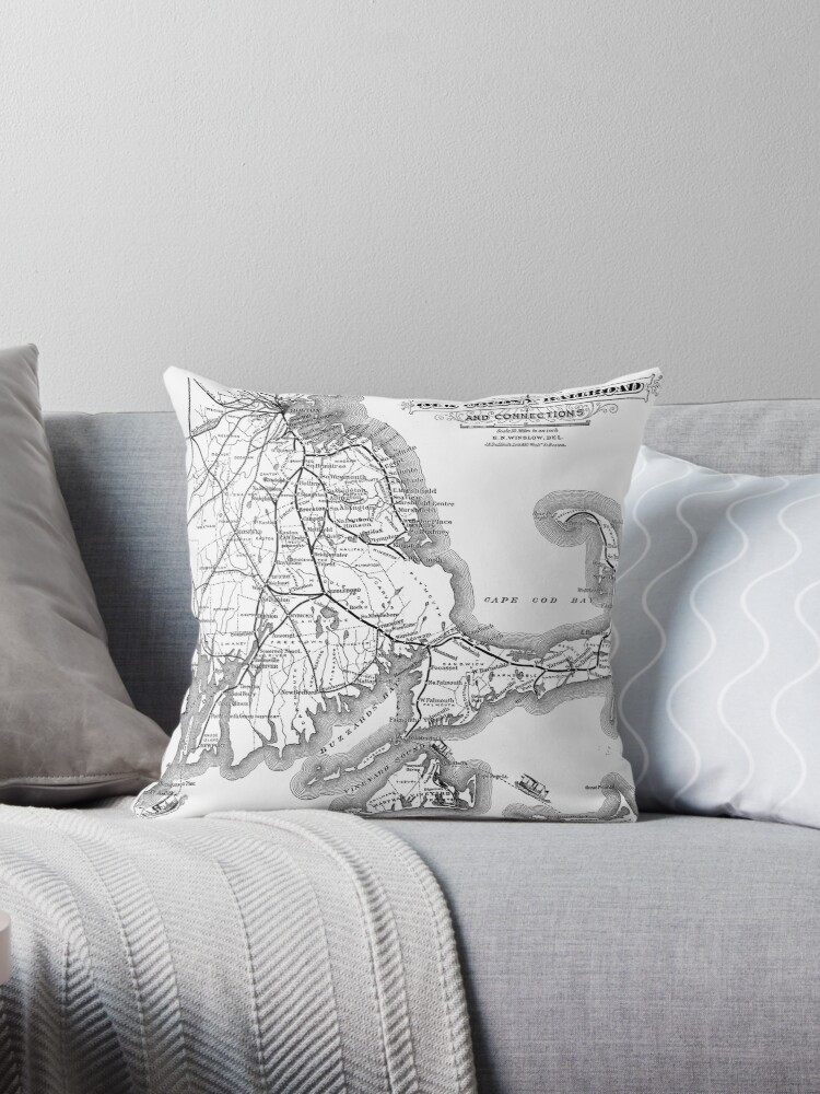 Vintage Cape Cod Old Colony Railroad Map 40 Throw Pillows By Mesmerizing Cape Cod Decorative Pillows