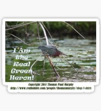 I Am the Real Green Heron! Sticker