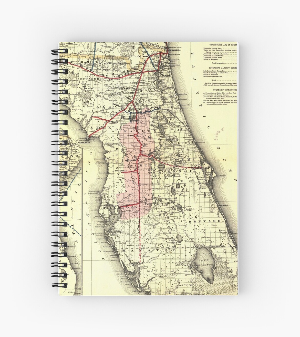 Florida Railroad Map.Vintage Florida Railroad Map 1882 Spiral Notebooks By