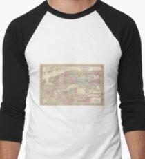 Camiseta ¾ bicolor para hombre Vintage Map of NYC and Brooklyn (1882)