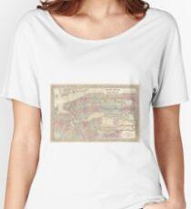 Camiseta ancha para mujer Vintage Map of NYC and Brooklyn (1882)