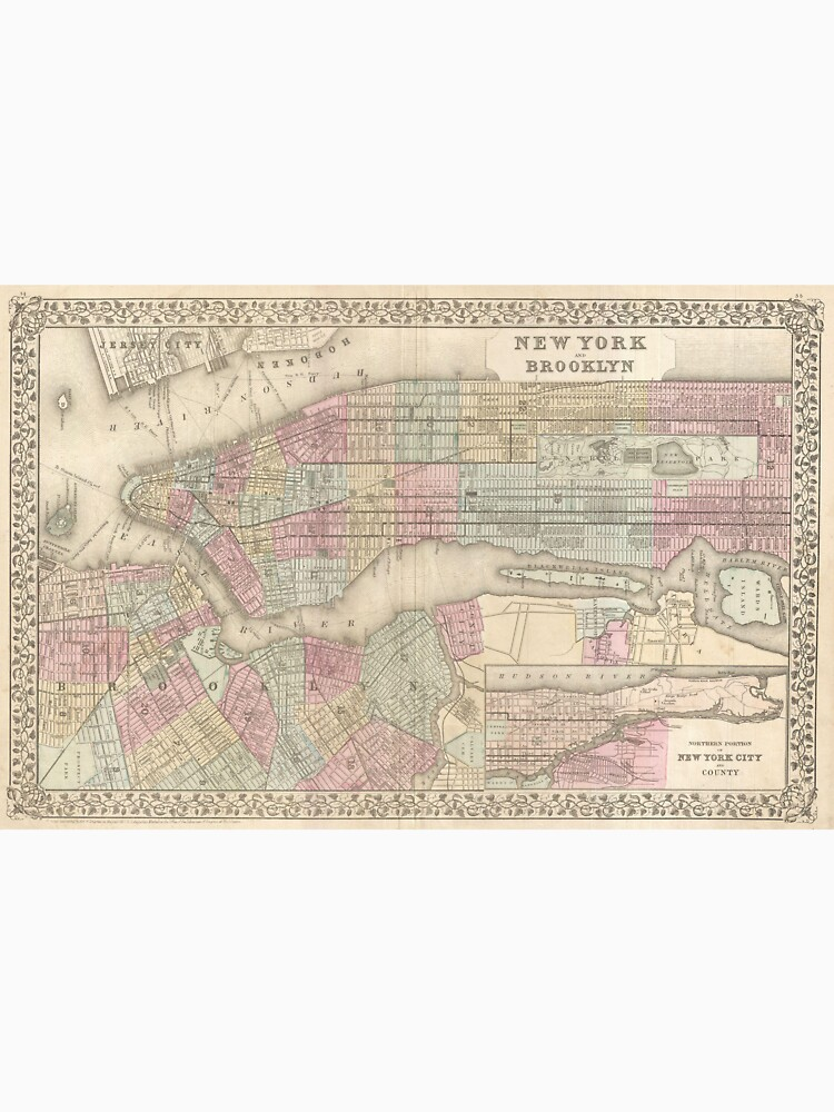 Vintage Map of NYC and Brooklyn (1882) de BravuraMedia