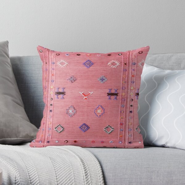 Pink Oriental Traditional Moroccan Style Throw Pillow