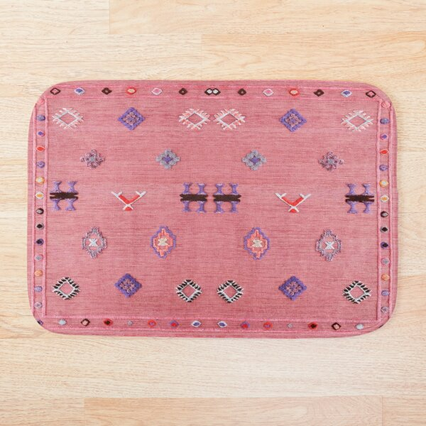 Pink Oriental Traditional Moroccan Style Bath Mat
