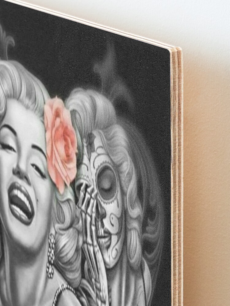 Alternate view of Marylin Monroe smile now cry later Mounted Print