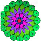 Green, Pink and Purple Mandala by Richard-Gary Butler