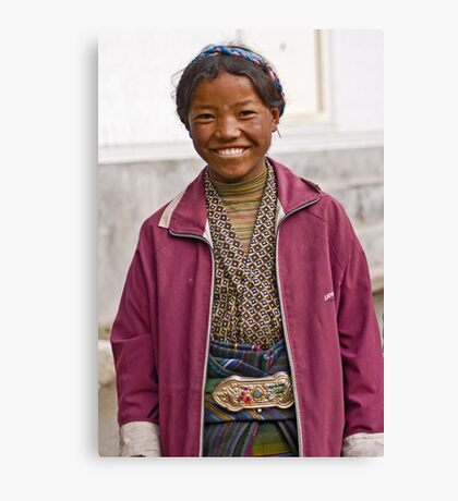 Tibetan girl in Zhangmu Canvas Print