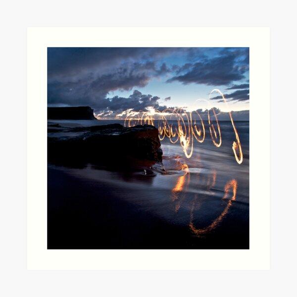 Garie Beach - Fire Scribbles Art Print