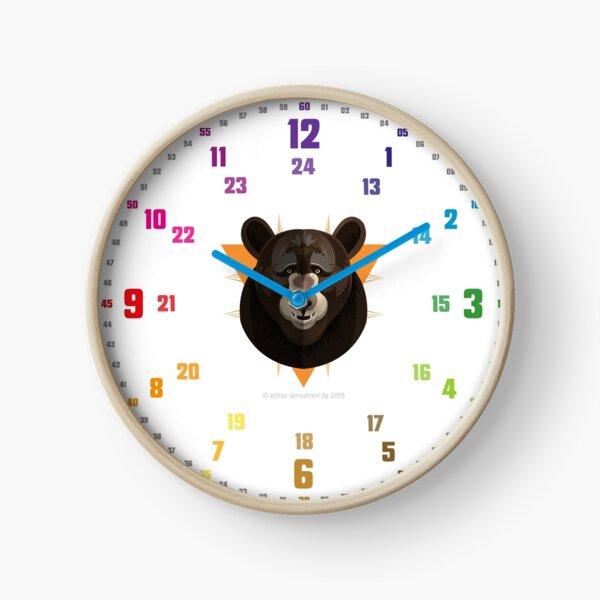 Echte-Lernuhren.de | EasyRead Kinderuhr Kinderzimmeruhr 24 Std Format ©hatgirlDESIGN (3,6,9,12 Hervorgehoben) Schulbedarf Klassenzimmer  Bär Logo Uhr