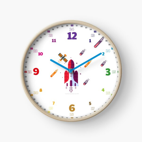 Echte-Lernuhren.de | EasyRead Kinderuhr Kinderzimmeruhr 24 Std Format ©hatgirlDESIGN (3,6,9,12 Hervorgehoben) Schulbedarf Klassenzimmer Rakete Uhr