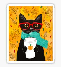 Pumpkin Coffee Cat Sticker