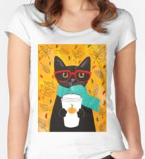Pumpkin Coffee Cat Fitted Scoop T-Shirt