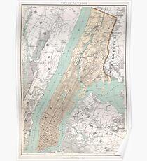 Póster Mapa vintage de la ciudad de Nueva York (1895)