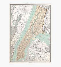 Lámina fotográfica Mapa vintage de la ciudad de Nueva York (1895)