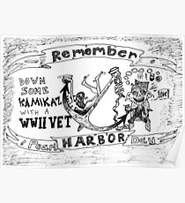 Remember Pearl Harbor Day cartoon Poster