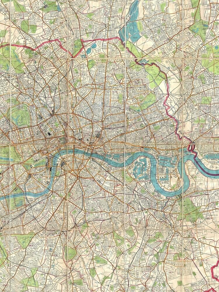 Vintage Karte von London England (1899) von BravuraMedia