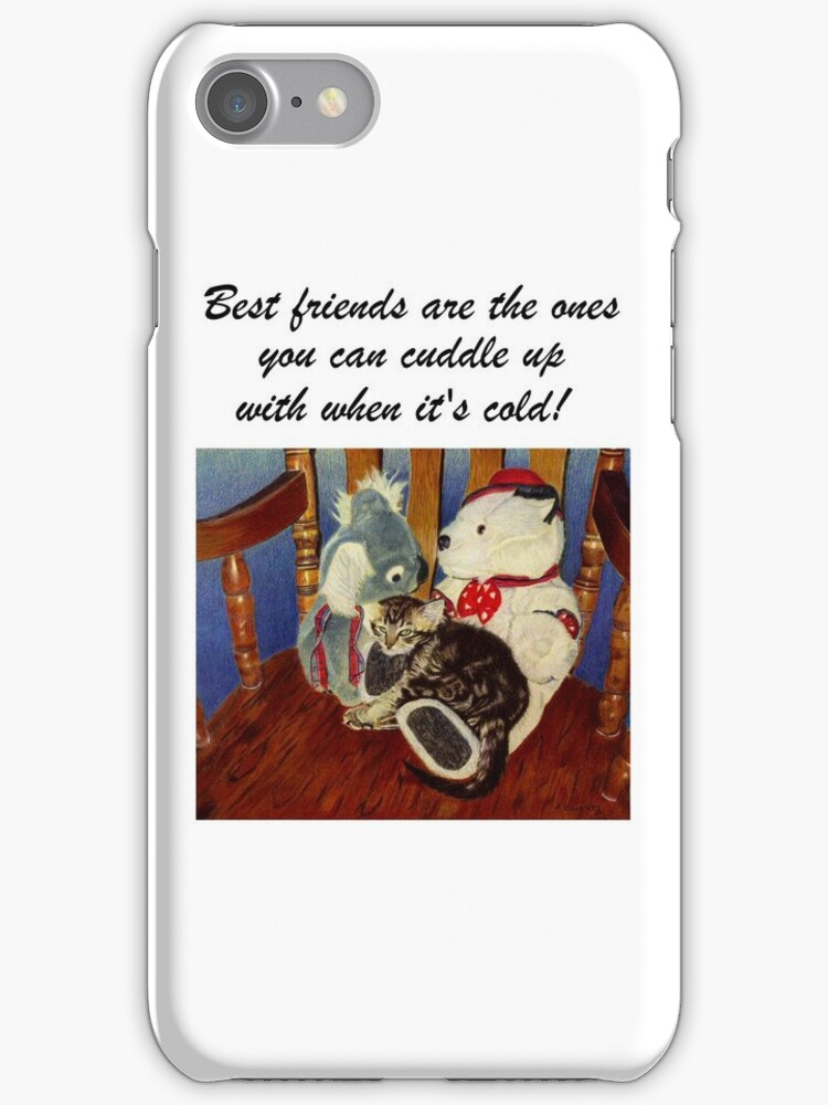 Rocking With Friends - Cat & Stuffed Animals iPhone Cases, T-Shirts & Stickers by Patricia Barmatz