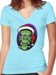 Christmas Frankenstein Women's Fitted V-Neck T-Shirt