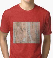 Camiseta de tejido mixto Vintage Map of New York City (1899)
