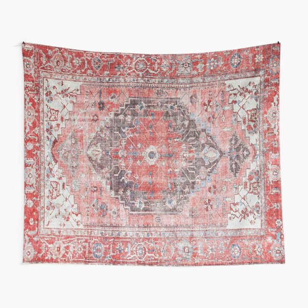 Red Vintage Oriental Moroccan Style Artwork Tapestry