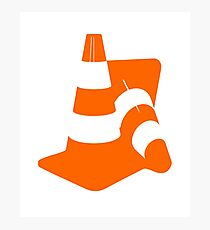 Traffic cones two safety pylons markers Photographic Print