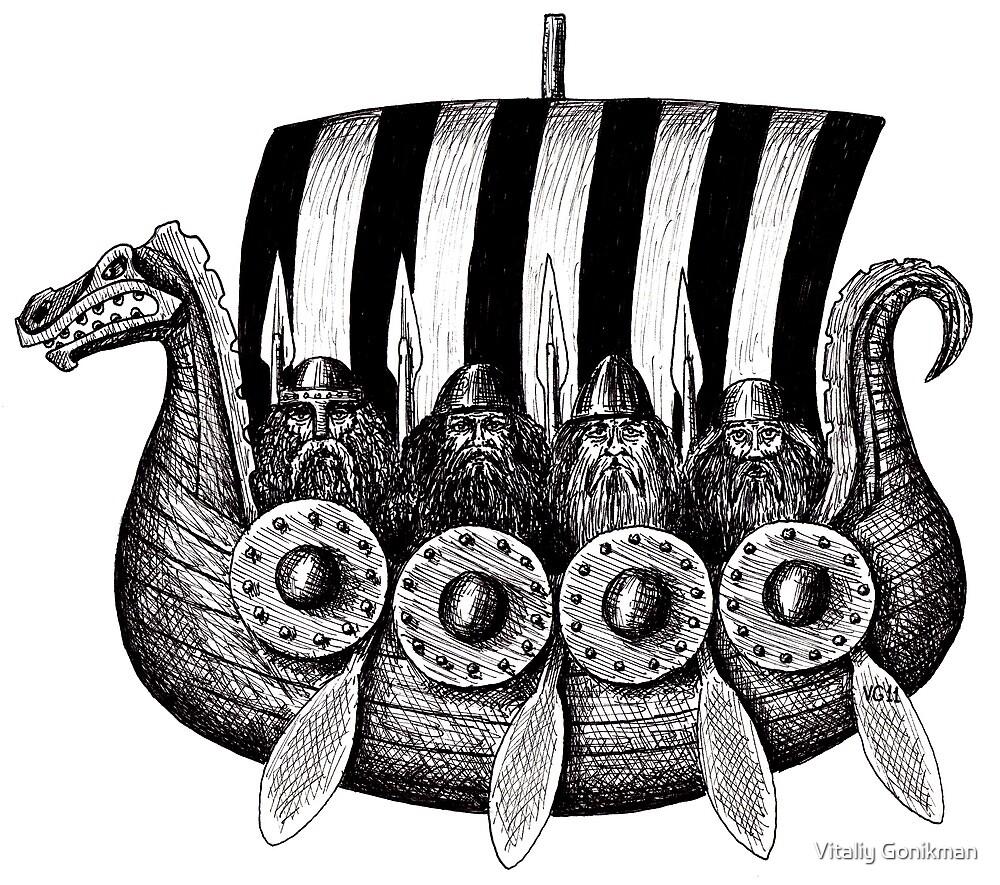 Vikings in the Drekar black and white pen ink drawing by Vitaliy Gonikman