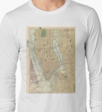 Camiseta de manga larga Vintage Map of New York City (1910)