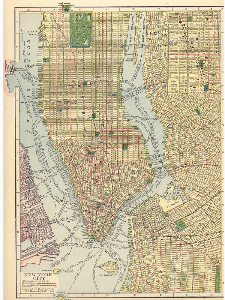 Vintage Map of New York City (1910) de BravuraMedia