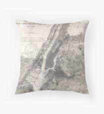 Cojín Vintage Coastal Map of New York City (1910)