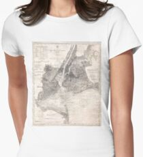 Camiseta entallada Vintage Coastal Map of New York City (1910)