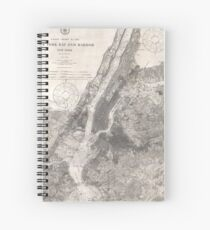 Cuaderno de espiral Vintage Coastal Map of New York City (1910)