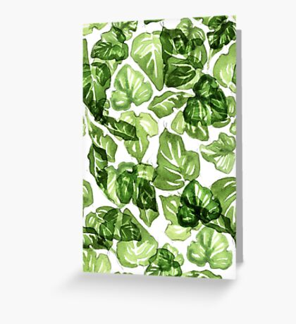 Green leafs pattern Greeting Card