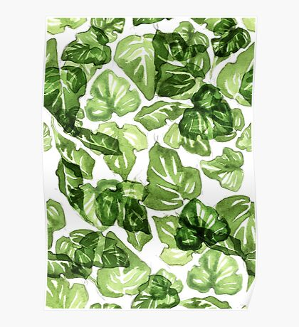 Green leafs pattern Poster