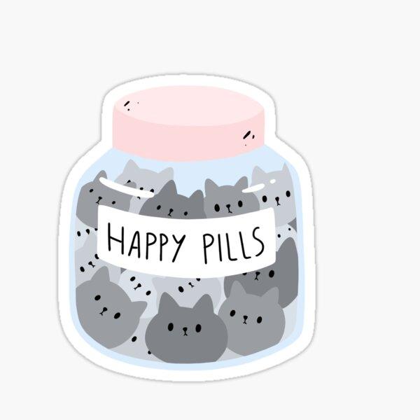 Katzen Glücks Tabletten Design Sticker