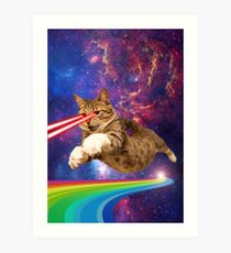 Laser cat in space  Art Print