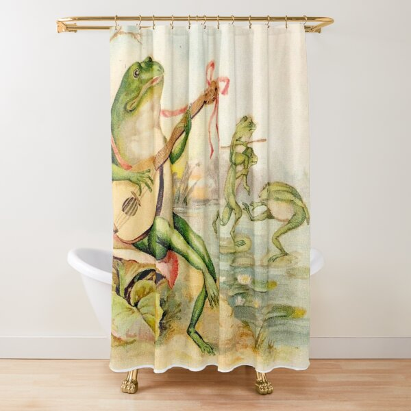 FROG STRUMMING : Vintage Abstract Entertainment Print Shower Curtain